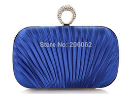 Wholesale-Royal blue women clutches purse handbags bags with one ring diamond kuckle clutches purse Free Shipping