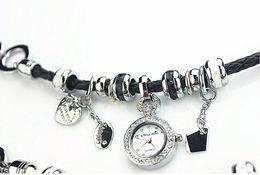 Wholesale New Arrival Weave Belt Diamond Watch Fashion Women Bracelet Watch Pendant Table TOP quality