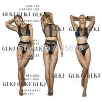 Cheap Wholesale-Women's Sexy Mesh fabric Bikini Steel bracket Gathered Chest Swimsuit Swimwear
