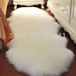 Wholesale Luxury Cover Seats - Wholesale-120*75cm free shipping Luxury Shaggy Faux Wool Fur Sheepskin Lamp coat Carpet Super Soft Rug Bed Chair Cover Floor Seat Mat Pad
