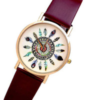cheap gifts for women - New Vintage Peacock Feather Models Strap Casual Ladies Quartz Watch For Women Dropshipping Cute Love Table Cheap Gift W10060