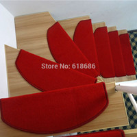 Wholesale Solid Red stair carpet mats with Magic buckle on back Non slip mat