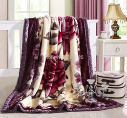Wholesale NEW winter warm thick raschel blanket double layer cartoon flowers super soft blankets double bed adults bedding cm