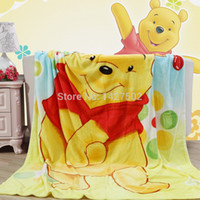Wholesale New Spring summer Rainbow Winnie the Pooh cartoon coral fleece flannel fabric super soft air condition blankets cm