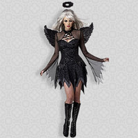 anime apparel - Sexy Adult Cosplay Costume Exotic Apparel Halloween Costume for Women Black Dark Devil Fallen Angel Costume
