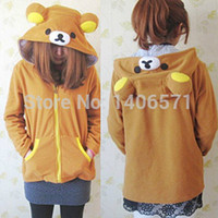 Wholesale New Winter coat Anime Rilakkuma Cute Hoodies Cosplay Costume Ears Yellow Bear Sweatshirt Jacket
