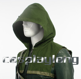 Wholesale Green Arrow Oliver Queen Halloween Outfit Cosplay Costume Green Hood only