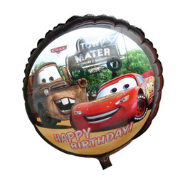 Wholesale Racing Car Figure Inch Round Helium Foil Balloon Cartoon design BirthdayParty Dcoration bag