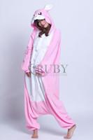 adult bunny pajamas - Fashion Pajamas All in One Pyjamas Animal suits Cosplay Costume Adult Coral Fleece Pink Bunny Cartoon Animal Onesies Sleepwears