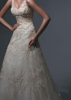 Wholesale New Style Spaghetti Wedding Dresses Empire Full of beading and embroidery sexy deep v neckline