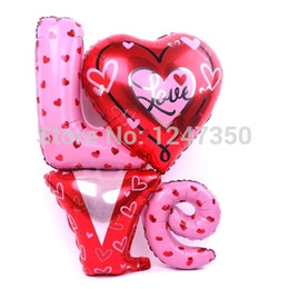 Wholesale P1284 New Large size Love Letter Shaped Foil Balloons Wedding Party Decoration Bola Valentines Wedding Supplier Air Balls