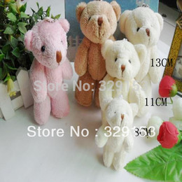 Wholesale Stuffed Animals Wedding Bears - Wholesale-H-8cm 3 color lovely Mini long wool Stuffed Jointed Bear wedding bears Gift Flower Packing Teddy Bear 50pcs lot
