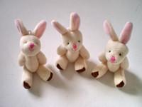 al por mayor los mini conejos de peluche-La venta al por mayor-Y92 el mini conejo barato libre del envío el 7.5CM = 3inch pequeño articuló la venta al por mayor rellena 20pcs / lot del juguete del ramo de la muñeca de la muñeca