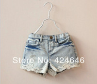 Wholesale pc Fashion Washed Vintage Ripped Holes Lace Girls Denim Shorts For Kids Children Denim Pants Clothes