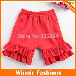 Wholesale Wholesales Apparel elastic waist Adorable posh Red cotton toddler fall boutique clothing Ruffled shorts