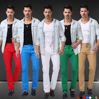 men color jeans - Men Jeans Solid Candy Color New Spring Summer Autumn Fashion Casual Brand Calca Jeans F0640