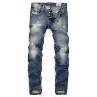 name brand jeans - High quality jeans men washed casual skinny jeans new design name brand jeans men pants big size