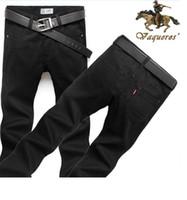 black jeans - Men s Jeans Mid Straight Jeans Men Full Length Straight Dark Cotton Jeans Black Hot Factory Direct