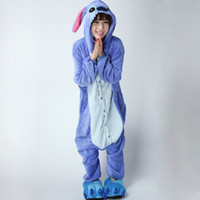 Wholesale Lilo and stitch costumes cartoon onesie Pajamas women Cosplay Costume cheap Adult Sleepwear flannel party XL