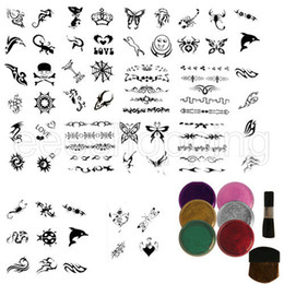 Wholesale S085 Mixed Girls amp Boys Glitter Temporary Tattoo Kit stencils glitters brushes GIFT Fashion Accessories