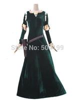 achat en gros de ainsi que des costumes taille femme halloween-Costume gros-Femme princesse Merida Merida Brave cosplay film Robe / Movie Party Costumes d'Halloween personnalisé Kids Plus Size