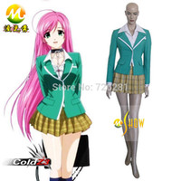 Cheap Wholesale-Cartoon Anime Girls Character Cos Rosario And Vampire Moka Akashiya Cosplay Costume Adult Lady Skirt Custom Made