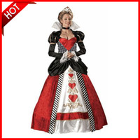 alice hearts - New Alice In Wonderland Cosplay Costume Queen Of Hearts Costume Red Queen Costume Female Elegant Dress Cosplay E018
