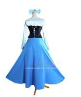 achat en gros de ariel robe bleue-Gros-Nouvelle Collection Custom Made La livraison Little Mermaid Princess Dress Ariel Cosplay Costume Bleu gratuit