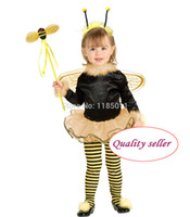 bee kids costume - Toddler Bumble Bee Costume Cosplay Satin dress pretty fantasia girl carnival Halloween costume for Kids Children