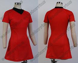 Wholesale Star Trek Into Darkness Uhura Cosplay Costume Women Female Red Short Dress Badge Custom Made
