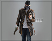 acrylic watch cap - Watch Dogs Cosplay Aiden Pearce Costume Wind Coat Cap Hat Scarf Face Mask One Set Cosplay Game Costume Cap