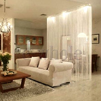 Wholesale White Fringe Door Window Panel Room Divider String Curtain Strip Tassel HG417