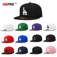 Wholesale bboy Baseball LA Los Angeles Dodgers Closed Fitted Cap Sport Outdoor Hip Hop Hat Casual Sun Caps For Women Men