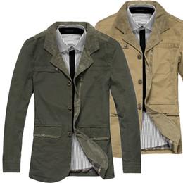 Wholesale-2015 New Spring Autumn High Quality Man Fashion Slim Jacket European and Ameriacan Style 100% Cotton Mens Blazer Jacket