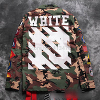 best winter coats - best quaity winter rare newest hip hop OFF white stripe print men windbreaker camo pocket embroidery badge JACKET coat