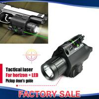 Cheap Wholesale-2in1 Combo Tactical CREE Q5 LED Flashlight LIGHT 200LM + Red Green Laser Sight For pistol gun Handgun Glock 17 19 22 20 23 31 37