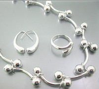 Cheap wholesale 925 silver grape beads links necklace rings earrings good sets hot sale