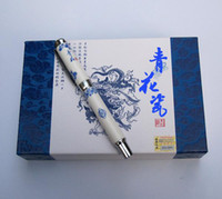 Cheap Meeting Gift Fountain Pen Unique China Blue and white porcelain Craft Pen with Hard Cover Box 10pcs