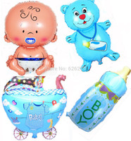 baby stroller designs - New four designs balloons baby bottle bear baby stroller milk bottle for newborn party decoration balloon childrens party decor
