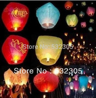 Cheap Wholesale-10pcs Lot Promotion Chinese Conventional Festival Balloon UFO Lamp Kongming Wishing Sky Lanterns Wedding Party Paper Lights
