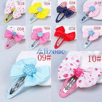 Wholesale Multicolor Lovely Baby Girl Child Small Clips For Hair Clip Ribbon Bow Hairpin New Gift Styling Tools