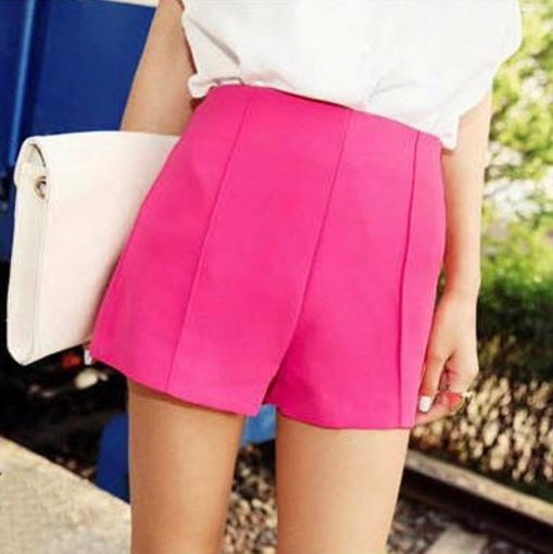 Wholesale-New 2015 Summer Fashion 11 Colors 1PCS/LOT Women's High Waist Shorts Pleated Denim For Office Ladies, Free Shipping