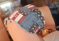 Wholesale Hot Sexy Women Girl American US Flag Cotton Blend Mini Jeans Shorts Trousers Denim Low Waist Mini Pockets S M L XL
