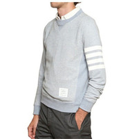 Wholesale striped Men Fashion longsleeve Cotton Sweatshirt Thom Brown Hot Sale Mens Shirts Blue Grey black