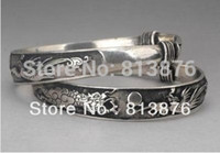 Cheap Wholesale-Rare 2 Tibet silver carved DRAGON men's bracelet bangle