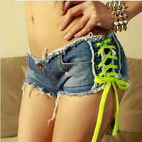 Cheap Wholesale-Blue Lace Up Sexy Ripped Short Denim Booty Shorts for Women