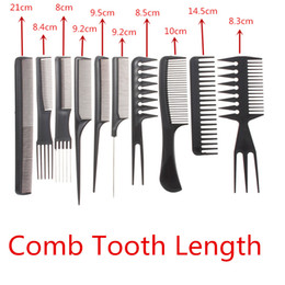 Wholesale-Free Shipping Professional 10pcs Combs Set Salon Hair Barbers Black Plastic Hairdressing Hair Barbers Styling Tools