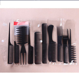 Wholesale- 10pcs set Professional Salon Hair Comb Set good for barber black color Free Shipping