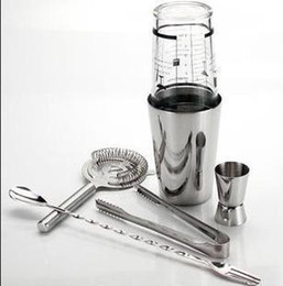Wholesale Professional Stainless Steel Barware Manhattan Boston Cocktail Shaker Set Stainless Steel Shell with Recipe Glass H