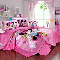 mickey mouse bedding - girl pink mickey minnie mouse bedroom sets designer bedding cotton twin full king duvets bed in a bag bed clothes comforter set